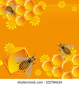 Abstract colorful background with working bees, yellow flowers and honeycombs filled with sweet honey