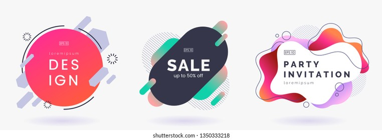 Abstract colorful badges set isolated on white background. Abstract dynamic geometric banners. Modern backdrop with place for text. Applicable for advertising, invitation, price tags. Vector eps 10.