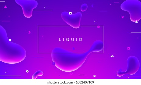 Abstract colorful banner with fluid shapes. Trendy vector illustration with geometric symbols. Futuristic composition with liquid shapes.