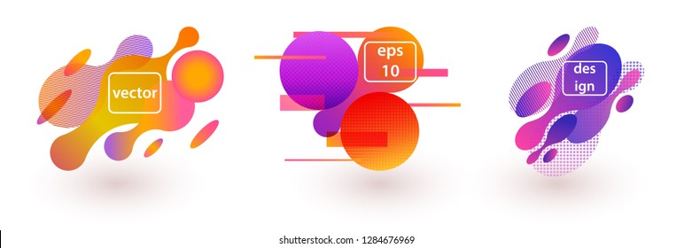 Abstract colorful banner with fluid shapes. Modern trendy background cover posters, banners, flyers, placards.