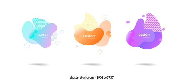Abstract colorful blobs set.Set of isolated abstract aqua spot with gradient or dynamic color.Abstract liquid shape. Fluid design. Isolated gradient waves with geometric lines,Vector illustration.