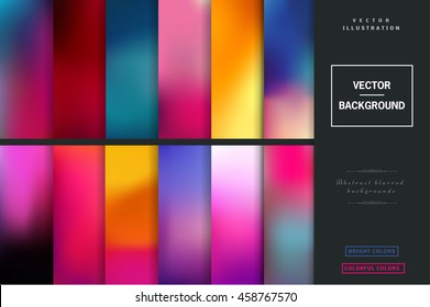 Abstract colorful blurred vector backgrounds. Elements for your website or presentation. Set with many  beautiful colors: gold, blue, red, yellow, pink, green, violet and many other colors and tones.