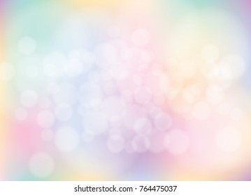 abstract colorful bokeh unicorn pastel light background. Vector illustration