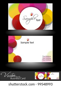 Abstract Colorful Bright Color Professional And Designer Business Cards Template Or Visiting Card Set EPS