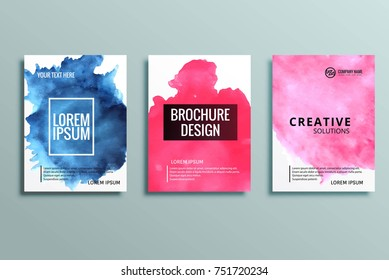 Abstract colorful business brochure set watercolor background