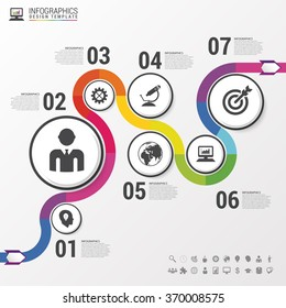 Abstract colorful business path. Timeline infographic template. Vector illustration