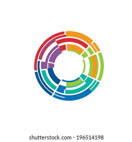Abstract colorful camera lens image-style 3. Concept for sensor light, electronics, photographic pulses. Vector icon