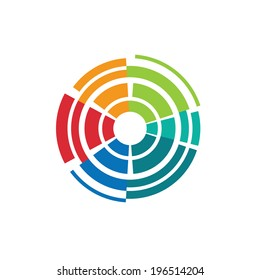 Abstract colorful camera lens image-style 1. Concept for lens technology,shutter, photography target. Vector icon