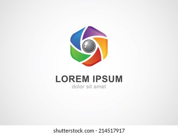 Abstract colorful camera shutter ( aperture ) with blades. Vector logo icon.