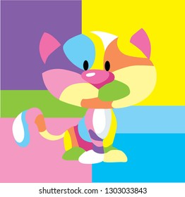 Abstract Colorful Cat Pop Art Frame - Vector Illustration