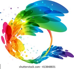 Abstract colorful circle frame, vector background