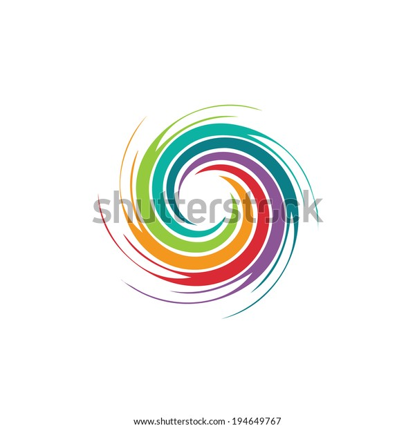 Abstract colorful circle swirl image logo. Concept of hurricane, twister, tornado. Vector icon.