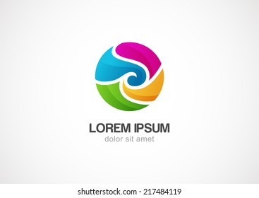 Abstract colorful circle wave vector logo template.