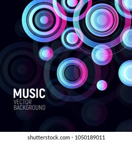 Abstract colorful circles on black background. Musical party design poster. Electronic disco club flyer design element. Night party banner template, vector illustration. Colored Rings.