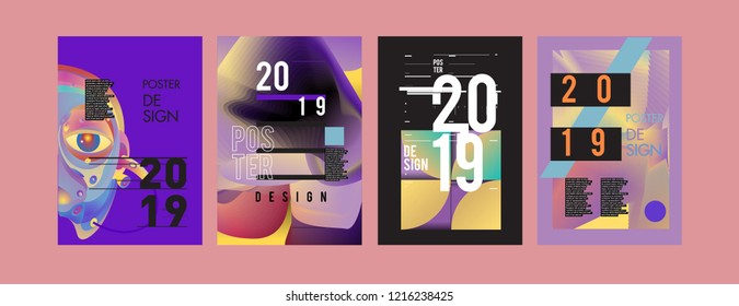 2019 New Poster Design Template Trendy Stock Vector Royalty Free