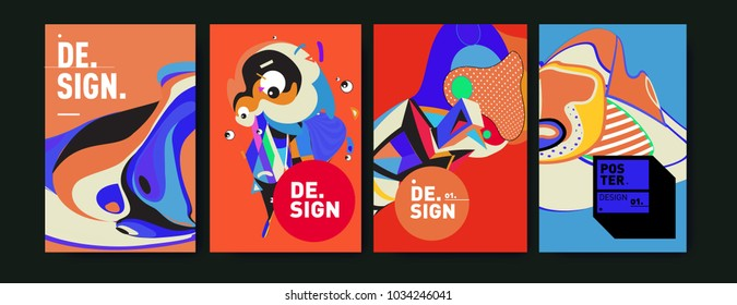 Abstract colorful collage poster design template. Cool geometric and fluid cover design. Blue, yellow, red, orange, pink and green. Vector banner poster template in Eps10.