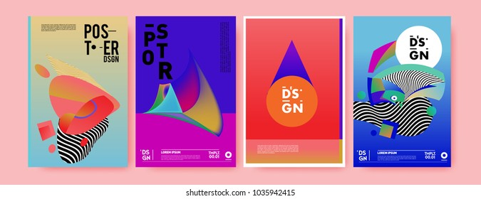 Abstract colorful collage poster design template. Cool geometric and fluid cover design. Blue, yellow, red, orange, pink and green background. Vector banner poster template in Eps10.