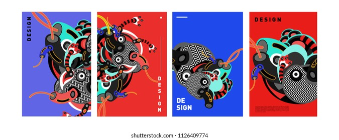 Abstract colorful collage poster design template. doodle illustration and fluid cover design. Blue, yellow, red, orange, pink and green. Vector banner poster template in Eps10.