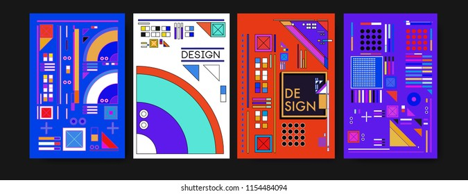 Abstract colorful collage poster design template. Cool geometric and retro background cover design.