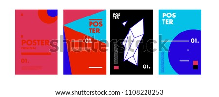 Po Collage Template | Abstract Colorful Collage Poster Design Template Stock Vector