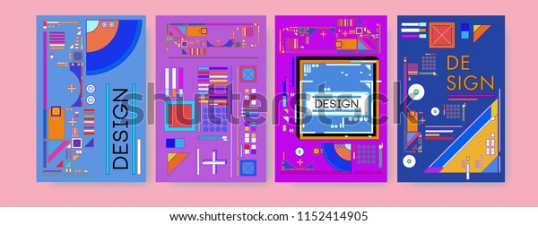 Abstract colorful collage poster design template. Cool geometric and retro cover design. Blue, yellow, red, orange, pink and green background. Vector banner poster template in Eps10.