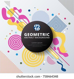 Abstract colorful color circle geometric pattern design and background. Use for modern design, cover, poster, template, decorated, brochure, flyer.