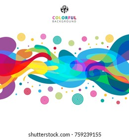 Abstract colorful color splash on white background with copy space. Vector illustration