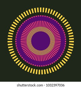 Abstract colorful concentric circles - vector digital geometric illustration. Attractive modern design for cover, project, poster or greeting card