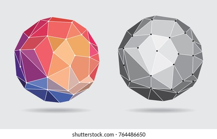 Abstract Colorful Connected Globe - Vector Illustration