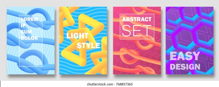 Abstract colorful covers set. Modern halftone cover design. Easy gradient shapes. Future soft geometric forms and covers patterns. Modern halftone cover background. Vector illustration. EPS 10.