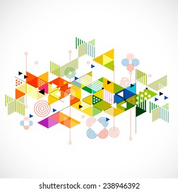 Abstract colorful and creative geometric with a variety of geometric pattern background, vector illustration