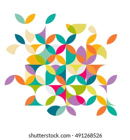 Abstract colorful and creative geometric with a variety of geometric pattern. Abstract flower pattern on white for leaflet business cover page, brochure, flyer, poster layout. vector illustration