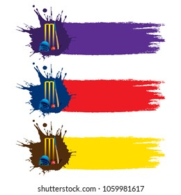 abstract colorful cricket poster design by brush stroke with cricket items