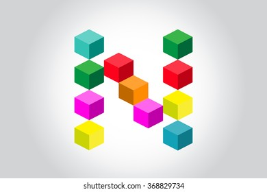 Abstract colorful cubes N alphabet