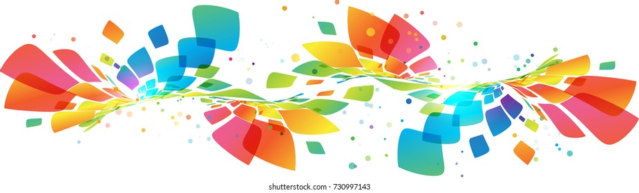 Abstract colorful curve element on white background