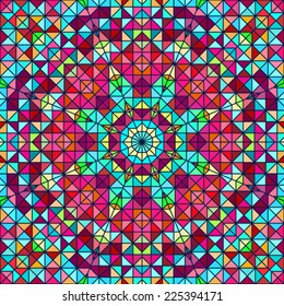 Abstract Colorful Digital Decorative Flower. Geometric Contrast Line Star and Blue Pink Red Cyan Color Artistic Star Backdrop