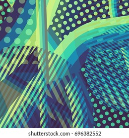 Abstract colorful disco background created with stripes, dots and patters of colors.