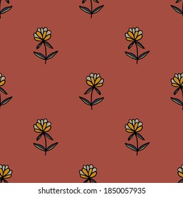 Abstract colorful doodle flower with leaves seamless pattern. Floral background. Vector illustration.