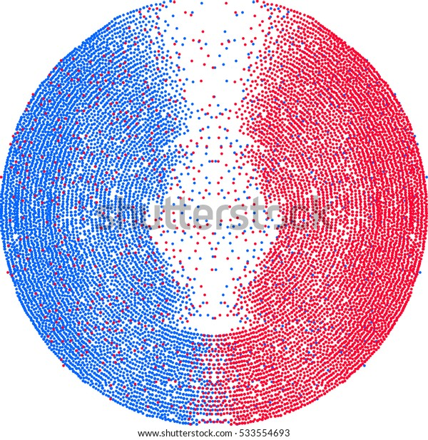 Abstract colorful dotted vector background in circle. Abstract design element.
