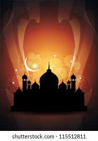 abstract colorful eid background with mosque.