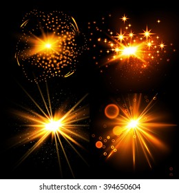 Abstract Colorful Explosion Collection. Flash Light & Burst Design. Vector illustration.