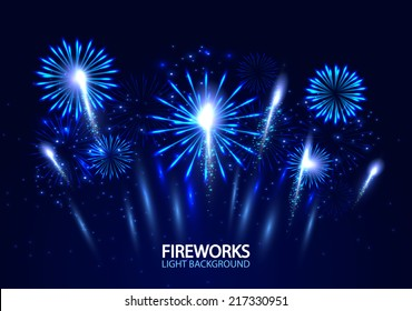 Abstract colorful fireworks background. Vector illustration.