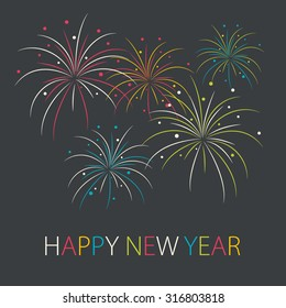 Abstract colorful fireworks in flat style. Happy New Year card. Vector illustration.