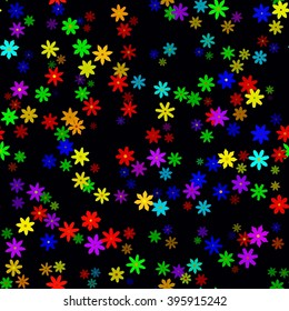 Abstract colorful floral pattern on dark background. Vector seamless illustration.