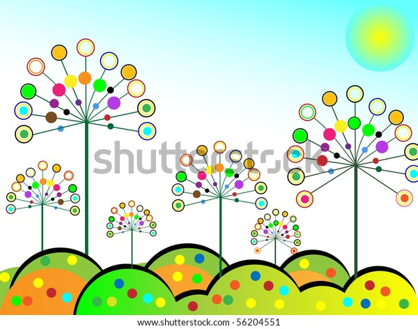 Abstract Colorful Flowers Vector Illustration Stock Vector