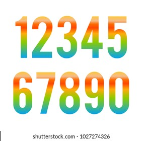 abstract colorful font number vector . triangle alphabet