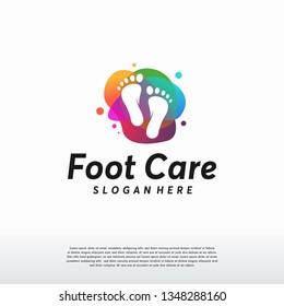 Abstract Colorful Foot care logo designs vector, Iconic Foot logo symbol