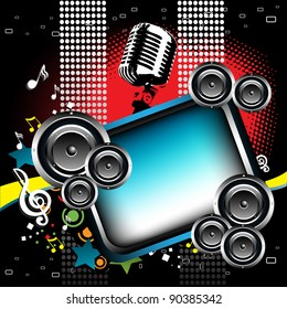 Abstract colorful frame surrounded by loudspeakers, microphone, stars and musical notes
