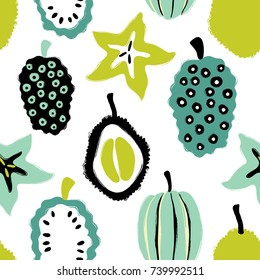 Abstract colorful fruits seamless pattern: durian, carambola and noni. Hand drawn brush grunge exotic fruit background.