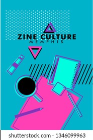 Abstract colorful funky  geometric with pop and zine culture elements template for poster card flyer banner